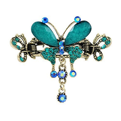 Retro Luxury Aulic Style Crystal Bronze Alloy Hair Claws, Butterfly(Cyan)