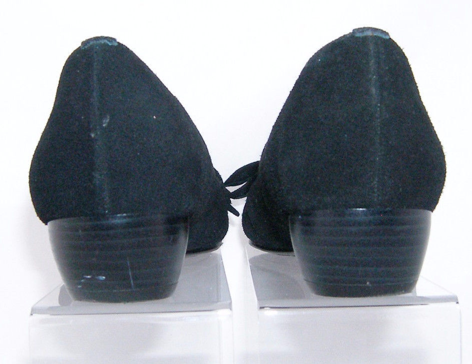 d3a69f74641d Naturalizer black suede bow round toe slip on stacked block heel shoe 7M