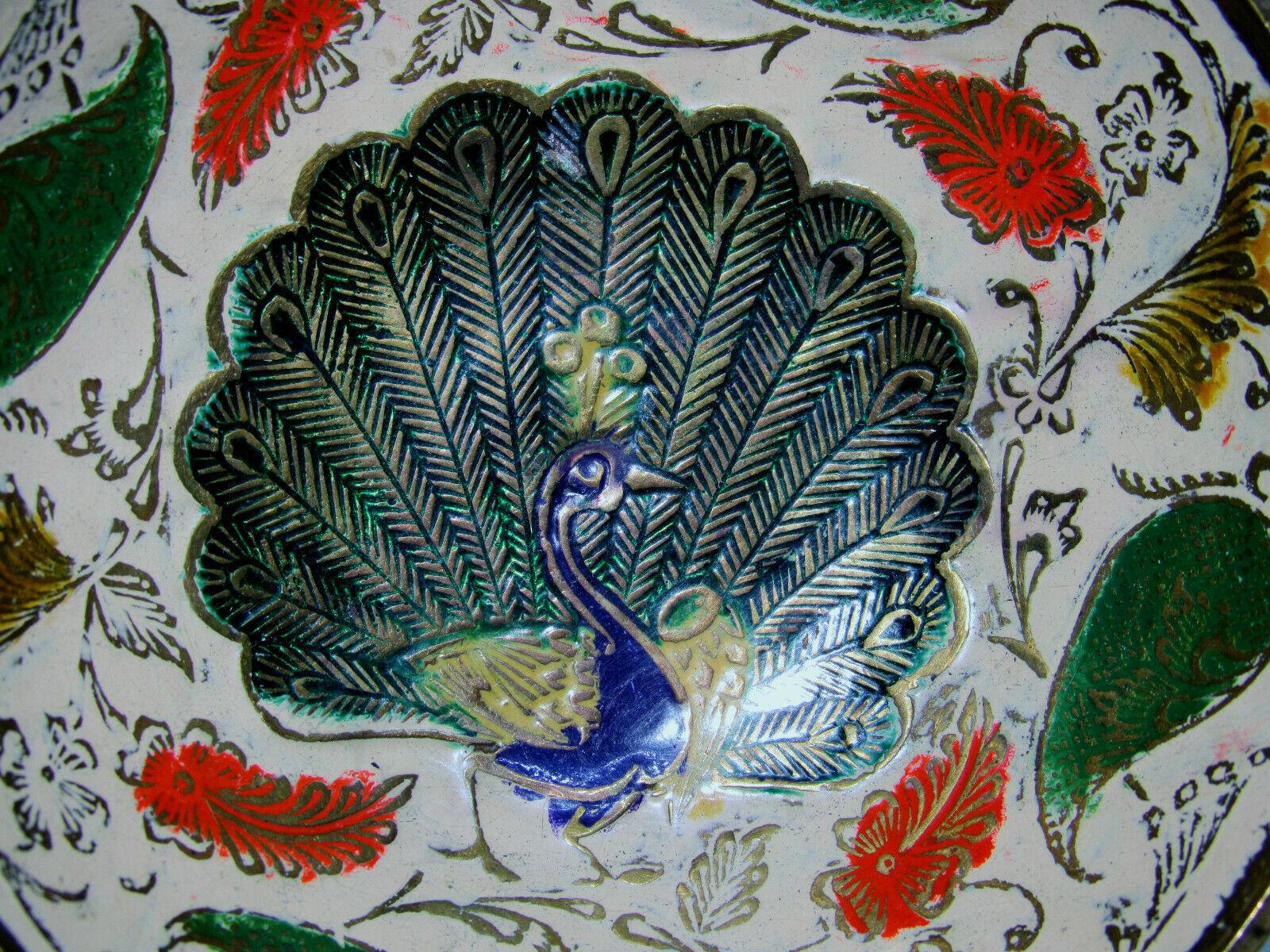 Vintage Brass Ornate Peacock Enameled Bowl on Pedestal image 5