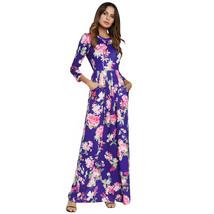 AOVEI Blue Floral Print Long Sleeve Casual Boho Long Maxi Beach Dress Robe - $29.99