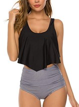 HONYAR Tankini Swimsuits for Women, Bathing Suits High Waisted Ruffle Re... - $21.49