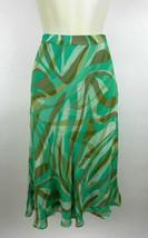 Kate Hill Petite 2P Womens Skirt Green Beige Swirl Geometric Flared 100%... - $29.69