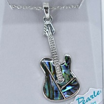 Storrs Wild Pearle Abalone Shell Guitar Music Pendant w/ Silver Tone Necklace image 2