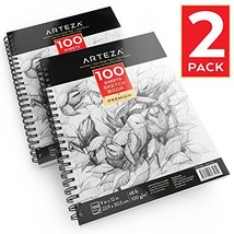 """Arteza 9""""X12"""" Sketch Book 2 Pack, 200 Pages Total, Two Spiral Bound Arti... - $26.64"""