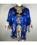 Vintage Golden Bee Orientale Kimono Abito Donna L Blu Ricamato Gancio E ... - $139.89