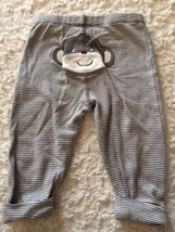 Carters Boys Brown White Striped Monkey Bottom Cuffed Pants 6 Months - $3.00