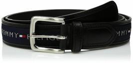 Tommy Hilfiger Men's Premium Ribbon Inlay Anchor Logo Leather Belt 11TL02X032 image 2