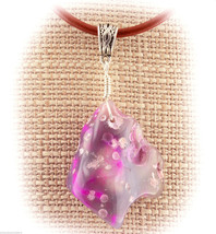 COWGIRL Pink Dyed Agate Wire Wrap Pendant Necklace A68-08 Leather FREE G... - $14.76