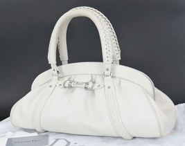 Authentic CHRISTIAN DIOR Gray Leather Hand Bag #33026 - $495.00