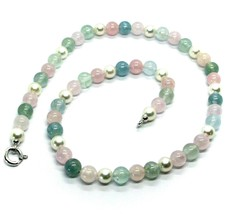 18K WHITE GOLD NECKLACE ALTERNATE AKOYA PEARLS WITH BLUE AND PINK AQUAMARINE image 1