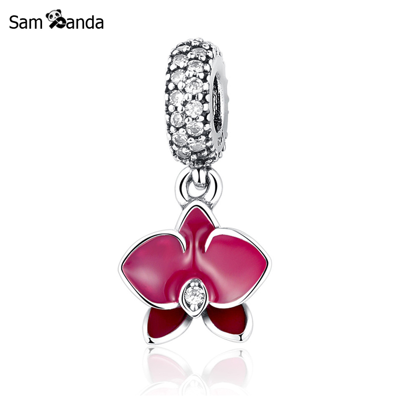 Buy Authentic 925 Sterling Silver Bead Charms Wine Red Orchid White Zircon