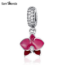 Buy Authentic 925 Sterling Silver Bead Charms Wine Red Orchid White Zircon - $12.99