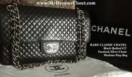 RARE CLASSIC CHANEL BLACK QUILTED CC TURNLOCK SILVER CHAIN MEDIUM FLAP BAG - $2,400.00