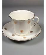 Mid Century Modern Sunburst Cup and Saucer Eames Era bone china dinnerwa... - $41.35