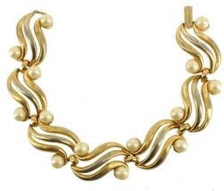 "Vintage Crown Trifari Gold Tone Wave Faux Pearls Link Bracelet 7"" 1960's - $44.99"