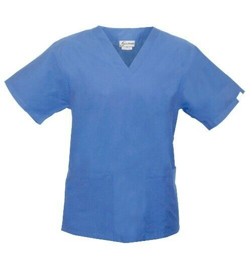 Primary image for Spectrum Uniforms Ceil Blue V Neck Tunic Top S Unisex Nursing 221C New