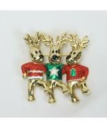 """Three Reindeer Dancing Pin Brooch Xmas 2"""" - $14.69"""