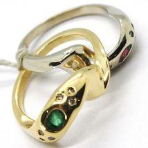 18K YELLOW WHITE GOLD BAND DOUBLE RING, BRAIDED SNAKE, DIAMONDS, RUBY & EMERALD image 5