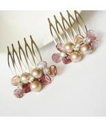 Rose Gold Swarovski Hair Comb - Bridesmaid Pearl Gift Set - $29.00+