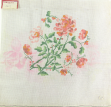 1970's Hand Painted Needlepoint Pink Purslanes Succulent Leaves 13CT - $33.30