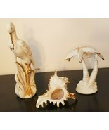 Vintage Palm Tree Crane and Sea Shell, Capodimonte Porcelain Figurines w... - $77.42