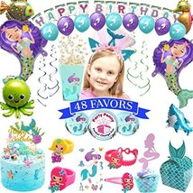 Mermaid Party Supplies - with Mermaid Party Favors Headband Purple Teal ... - $25.19