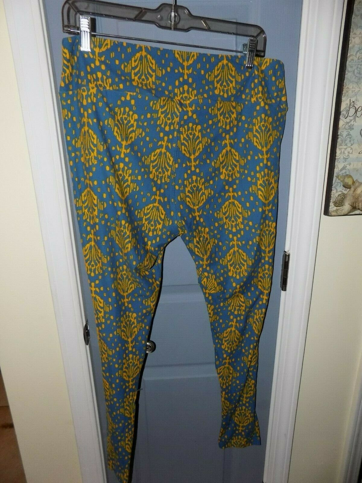 LuLaRoe Blue and Gold Print Leggings Size Tall and Curvy Women's EUC image 3
