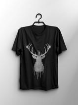 Black T-shirt Deer Funny Men's T-shirt Size S-XXL - $17.69