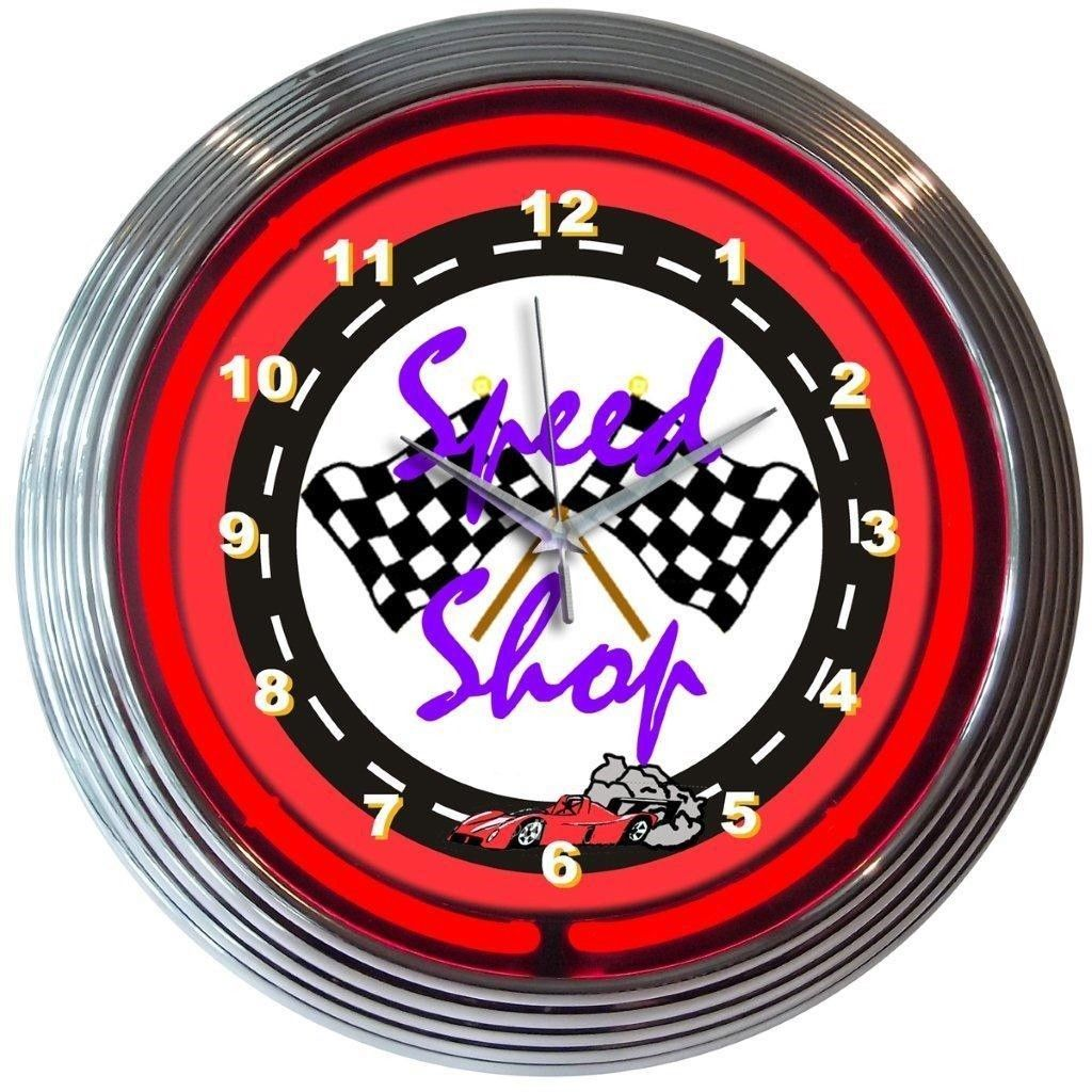 "Primary image for Speed Shop Racing Neon Clock 15""x15"""