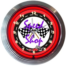 "Speed Shop Racing Neon Clock 15""x15"" - $59.00"
