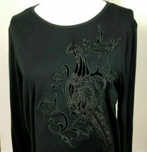 Ralph Lauren Womens L Top Black Knit Beaded Bird Design Long Sleeve  LRL - $18.32