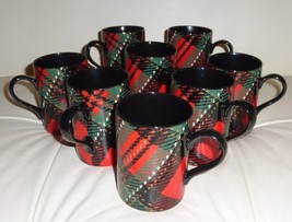 8 Fitz and Floyd Porcelain Country Plaid Mugs #464 - $119.00
