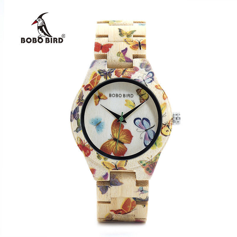 BOBO BIRD Ladies Wood Watch Women Bamboo Band Butterfly Paint Wooden Gift Box