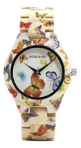 BOBO BIRD Ladies Wood Watch Women Bamboo Band Butterfly Paint Wooden Gif... - £25.30 GBP