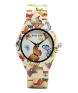 BOBO BIRD Ladies Wood Watch Women Bamboo Band Butterfly Paint Wooden Gif... - €28,59 EUR