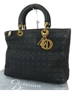 Authentic CHRISTIAN DIOR Black Quilted Nylon Lady Dior Handbag Purse #38533 - $355.00