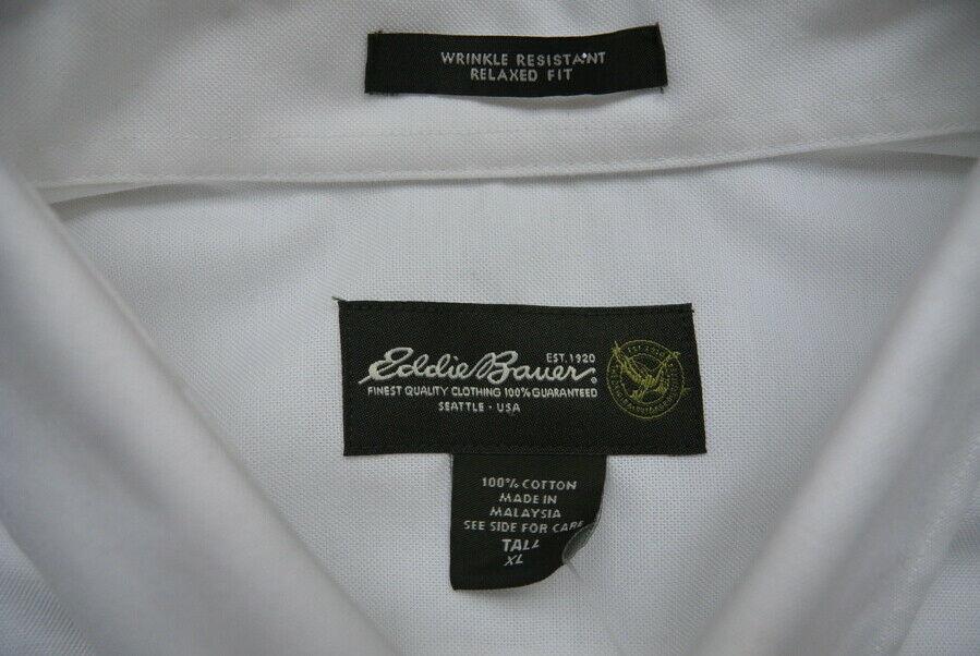 Eddie Bauer Oxford Rughe Resistente Vestibilità Comoda XL Cotone Bianco Nwt