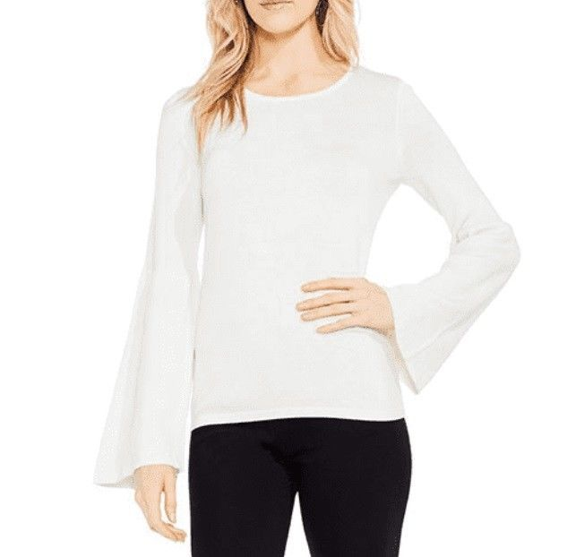 Vince Camuto Women's Antique White Bell Sleeve Ribbed Pullover Sweater Size XL - $22.05