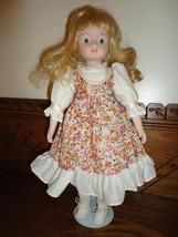 Vintage 1970's Porcelain Doll Blonde Hair Cotton Flowered Dress 16 inch - $67.54