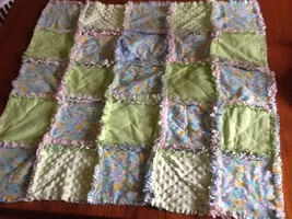 "Rag Quilt Lap Blanket Baby Toddler Minky Flannel New Fabric Approx 33 X 34"" - $46.75"