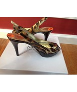 Guess Leather Brown & Black Heels Open Toe Women's Shoes Size 9.5M   - $39.59
