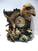 Bald Eagle With Chicks Clock Figurine Resin 6 3/4 High NEW NO BOX - $26.48