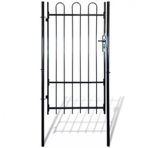 Fence Gate Spear Top Single Rail Garden Barricade Patio Wall Panels Bloc... - $146.00
