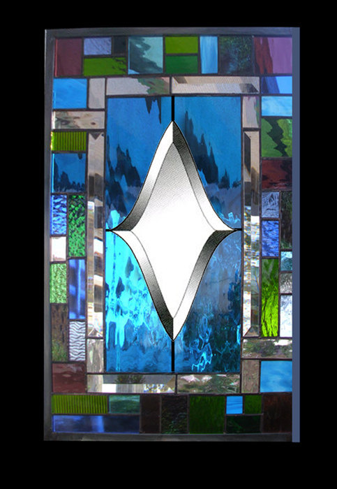 Beveled Stained Glass Window  Panel  turquoise green blue Wedding Decoration
