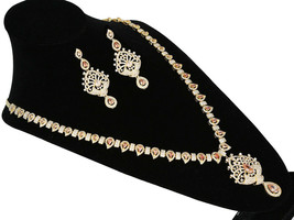 CZ GOLD PLATED PEAR TOPAZ STONES BRIDAL JEWELRY WEDDING LONG SOUTH NECKL... - $64.34