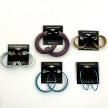 Hoop Earrings Lot Pierced Vintage Enamel Wire Wrapped Wood Chunky NOS 80s 90s - $12.81