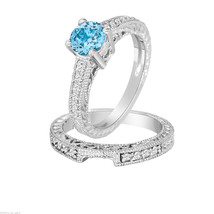 Blue Topaz Engagement Ring Set 14K White Gold 1.26 Carat Wedding Ring Sets, - $1,750.00