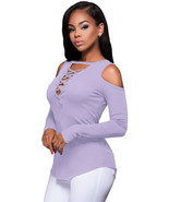 Purple Long Sleeve Cut-out Shoulder Ribbed Top  - $18.23