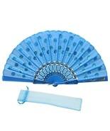 JSSWB Sequins Peacock Pattern Folded Fans Handheld Props Fans Light Blue - $10.34