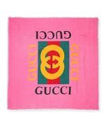 """NWT GUCCI logo silk modal extra large scarf shawl 55"""" x 55""""; Rtl $445 - $290.07"""